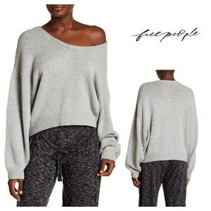 Free People Grey Perfect Day Knit Oversized Scoop Neck Sweater Medium